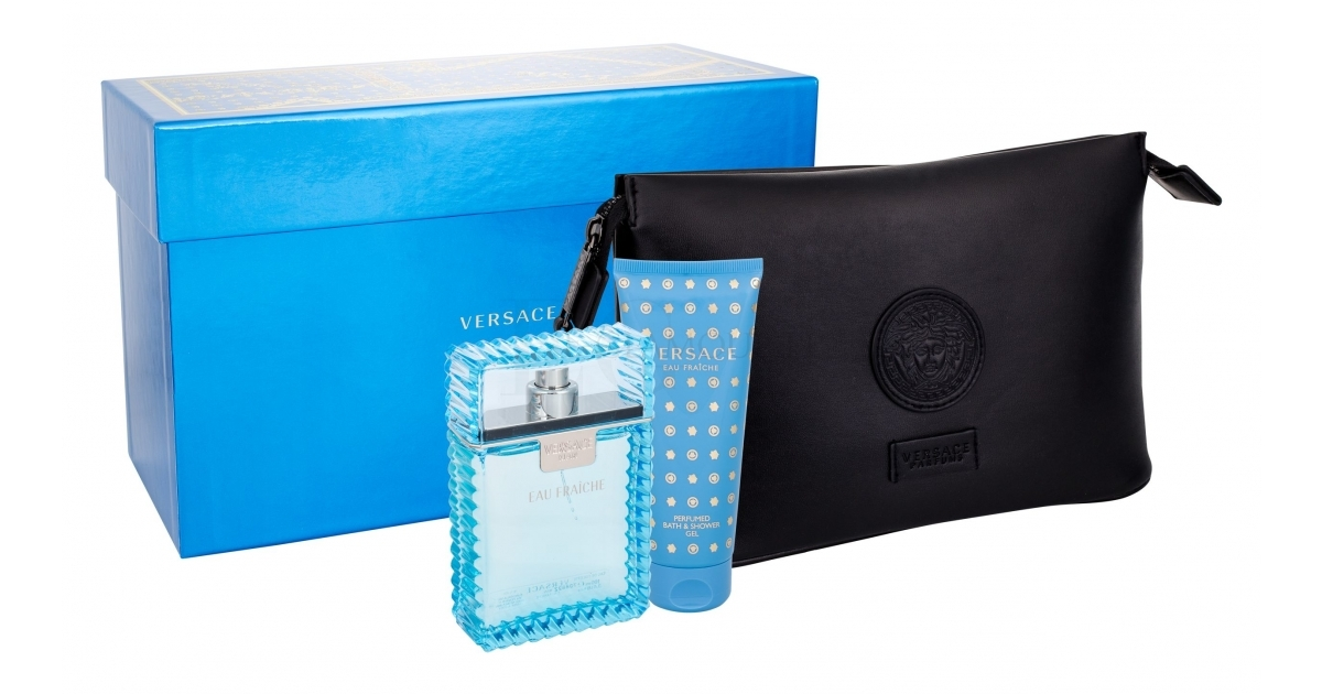 Versace Man Eau Fraiche Edt 100ml + 100ml Shower gel + Cosmetic bag 100ml Vīriešu Smaržas