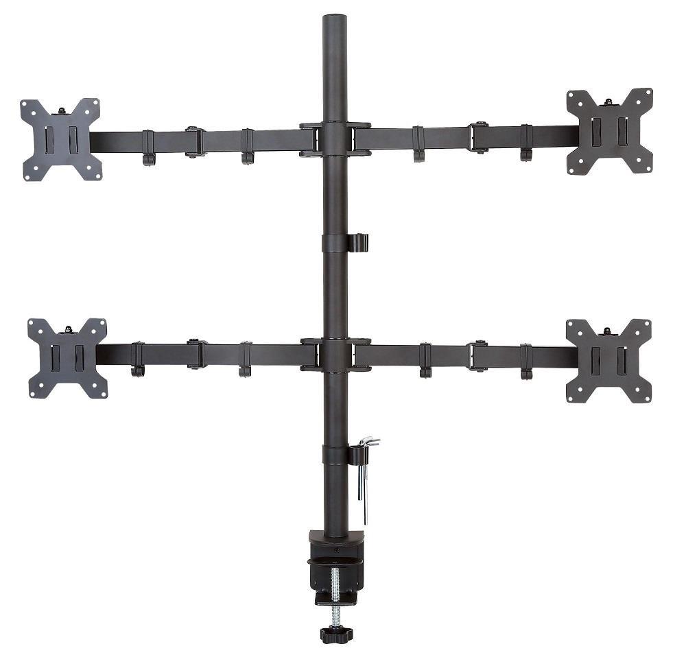 Desk mount for 4 monitors 13-27 inches 4x10kg, black