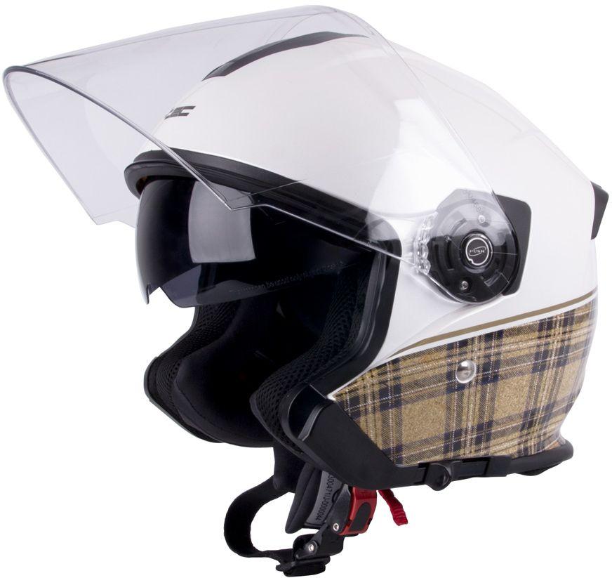 W-TEC Kask motocyklowy otwarty V586 z blenda bialy perlowy r. M (57-58) (9633) 9633-2-M