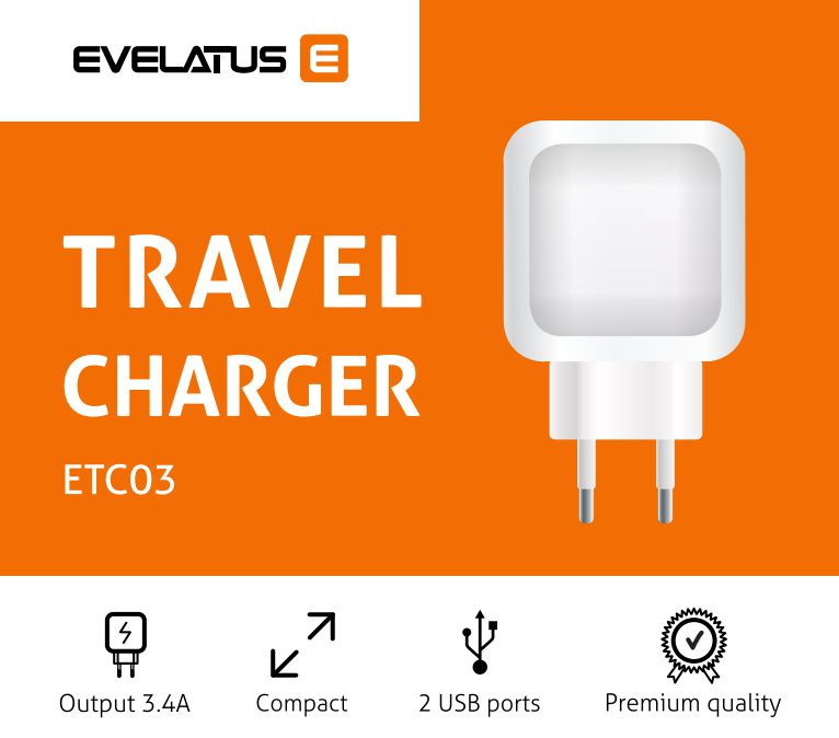 Evelatus Travel Charger Two USB 3.4A ETC03 White iekārtas lādētājs