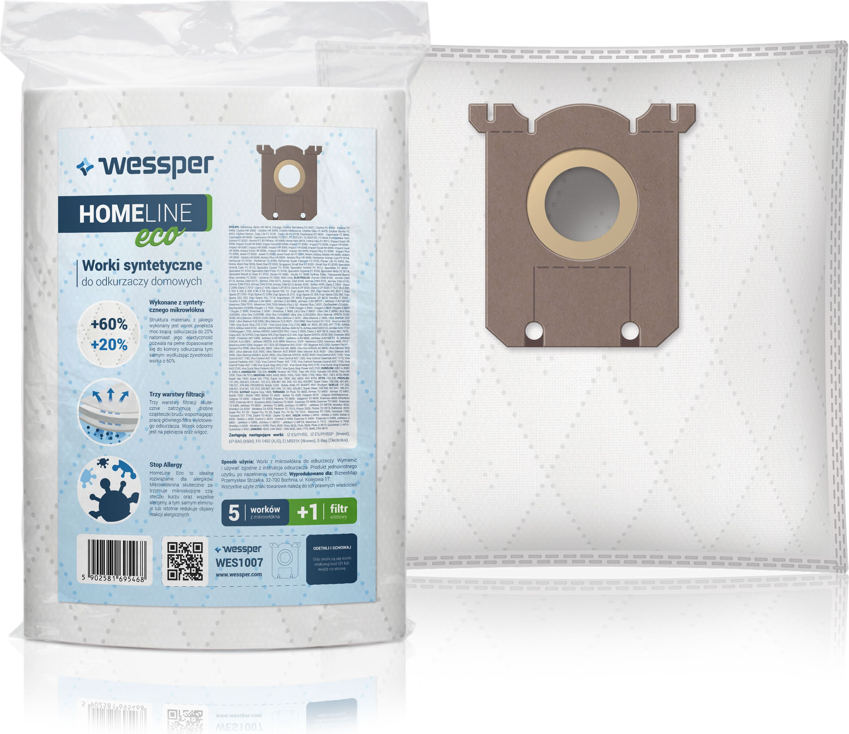 Wessper S-Bag synthetic for AEG, Electrolux, Philips (Microfibers; wessper WES1007; 5 pcs + 1 filter) aksesuārs putekļsūcējam