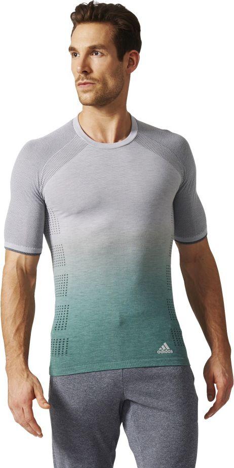 Adidas Koszulka meska Prime Knit Wool Sh Sleeve Tee Dip Dye szara r. S AZ2899