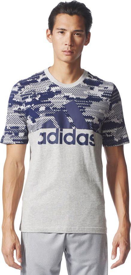 Adidas Koszulka meska ESS AOP Tee szara r. M (BQ9597) BQ9597
