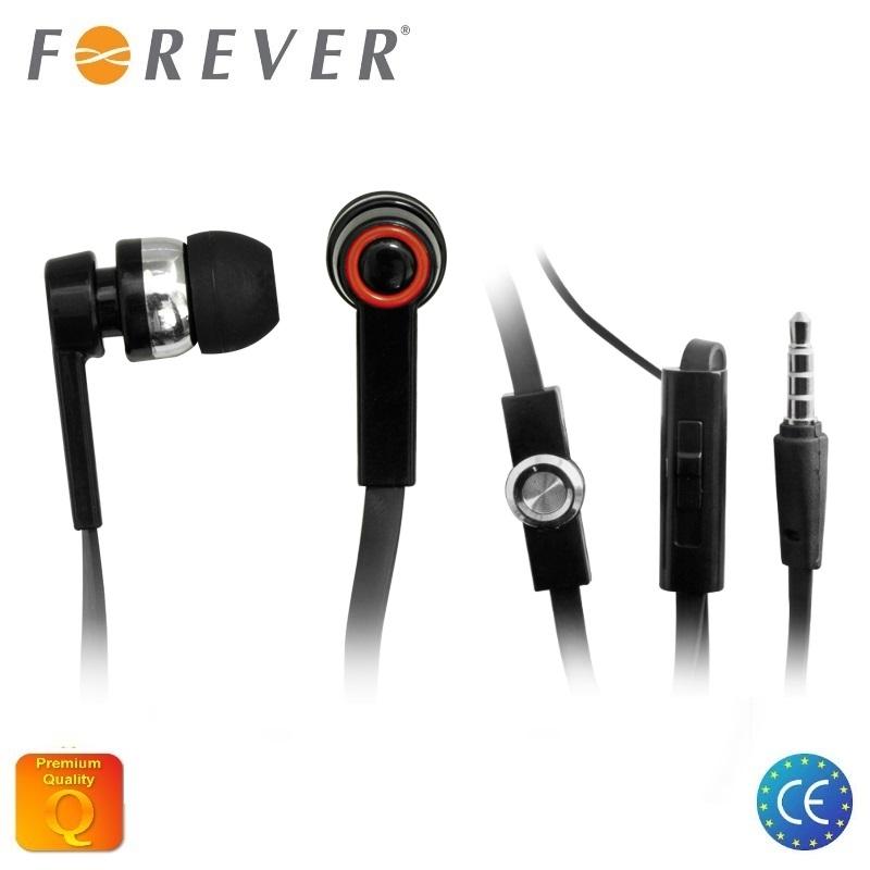 Forever universālas Plakan vada 3.5mm In-Ear Austiņas priekš telefona ar mikrofonu Melnas
