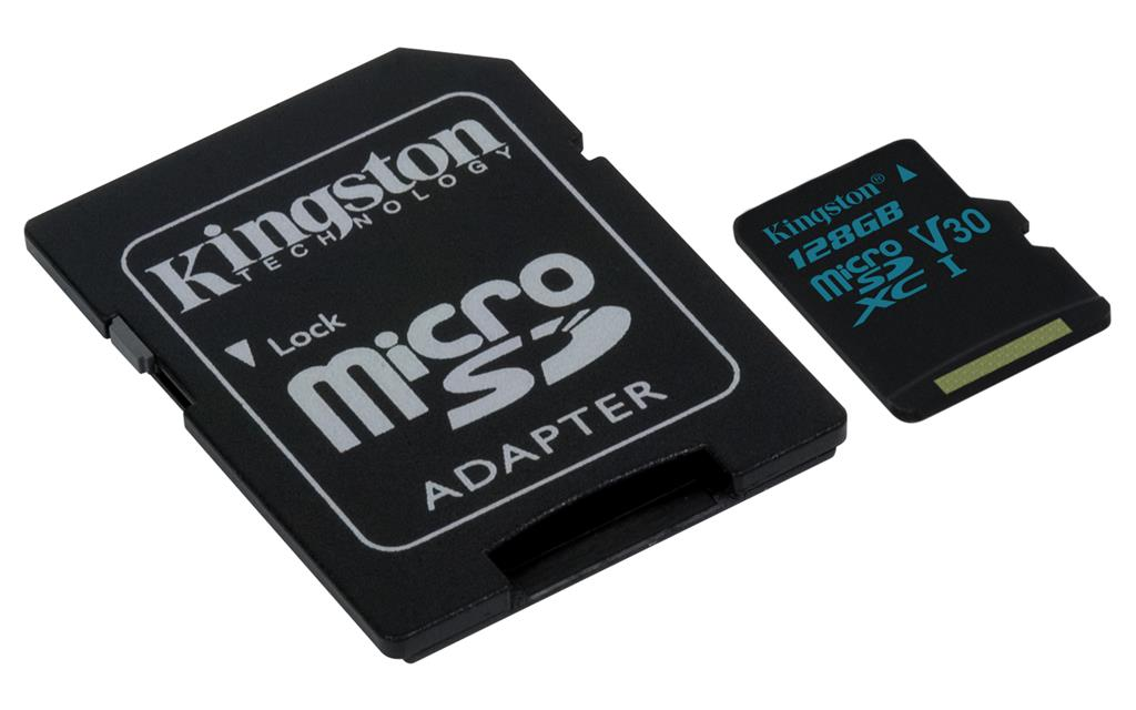 Kingston 128GB microSDXC Canvas Go 90R/45W U3 UHS-I V30 Card + SD Adapter atmiņas karte