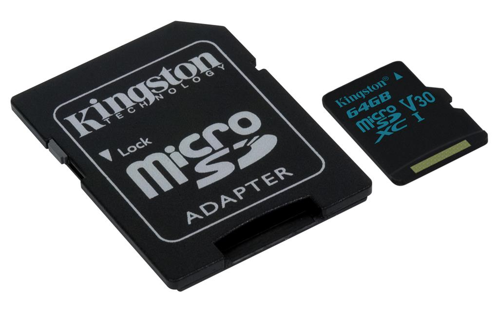 Kingston 64GB microSDXC Canvas Go 90R/45W U3 UHS-I V30 Card + SD Adapter atmiņas karte