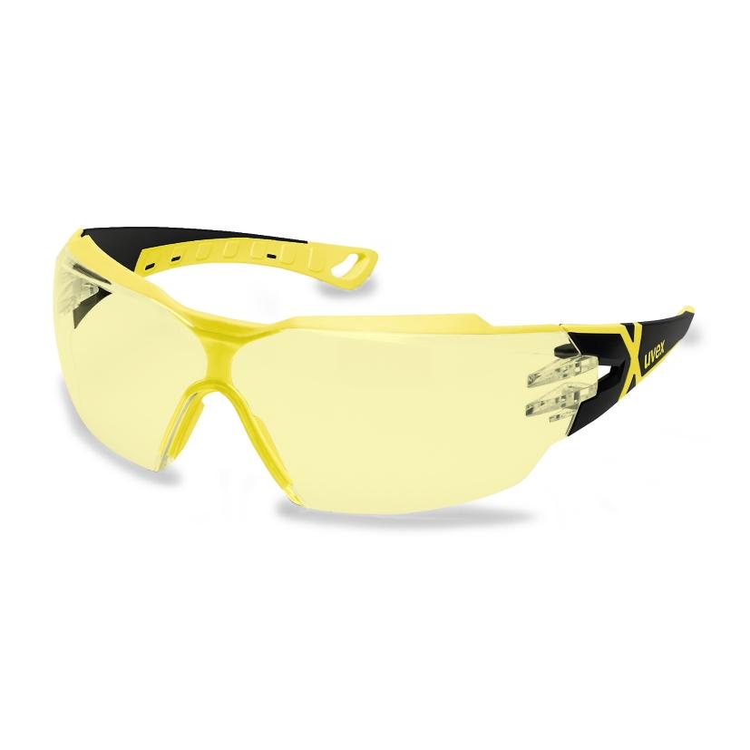 UVEX Aizsargbrilles Pheos CX2, Dzeltena Leca, Supravision Excellence HC/AF Parklajums, Melns/Dzeltens Instrumentu apstrādei