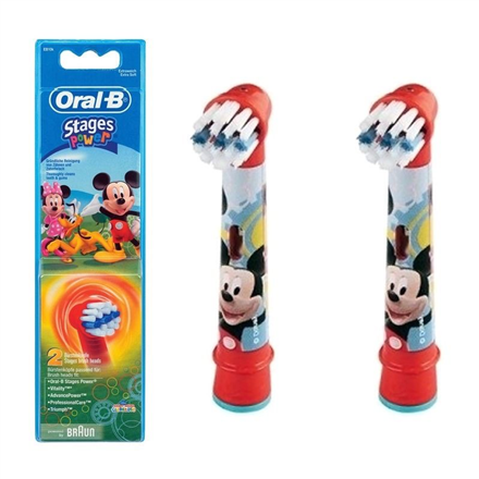 Oral-B Mickey Mouse  EB-10, Replacement Heads For Toothbrush Extra Soft for kids, Number of brush heads included 2 mutes higiēnai