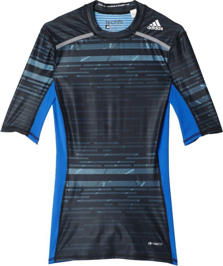 Adidas Koszulka meska Techfit Chill Short Sleeve Tee czarno-niebieska r. XL (AY8364) AY8364