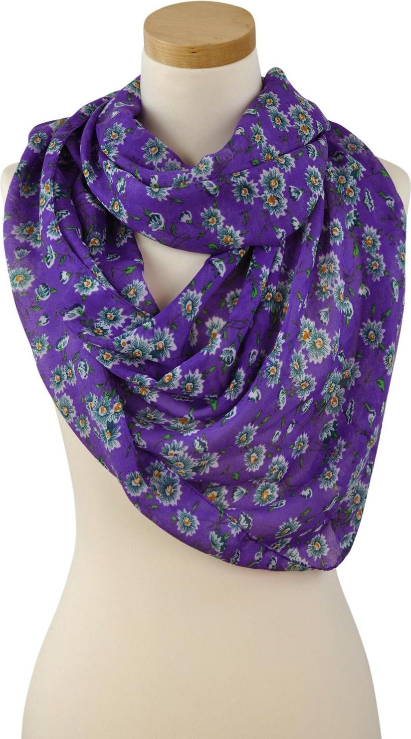 Art of Polo Women's shawl with a purple floral motif sz1240-4