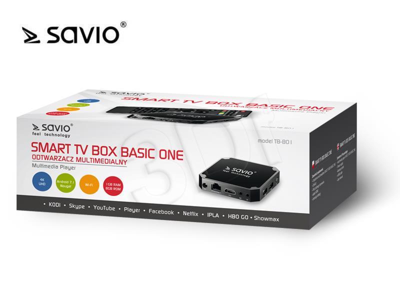 SAVIO SMART TV BOX BASIC ONE TB-B01 dvd multimēdiju atskaņotājs
