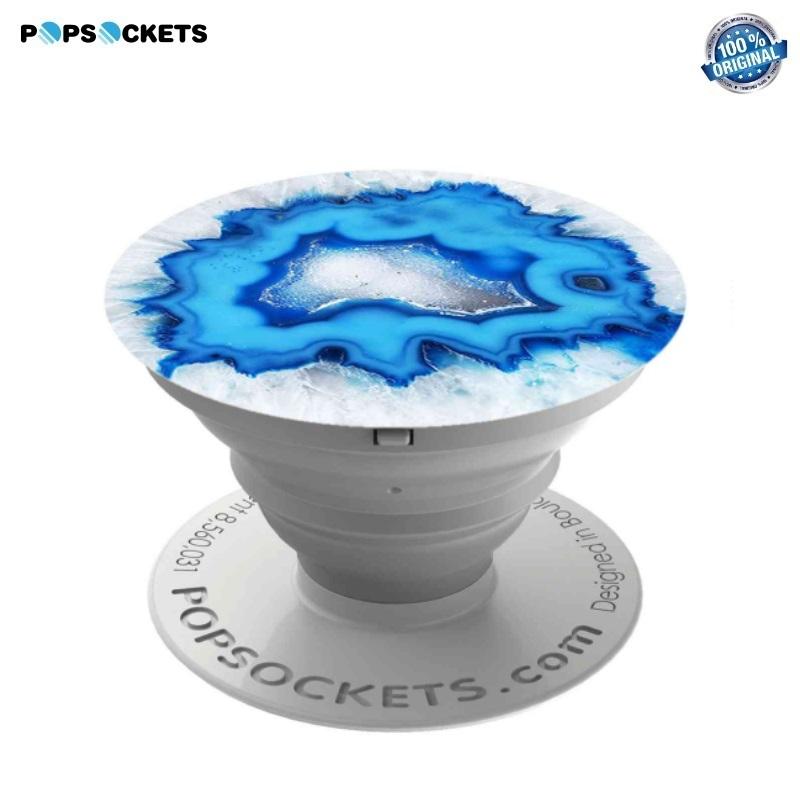 Popsocket (Oriģināls) Izvelkams Pirkstu Fiksējošs Telefona Gadžets Turētājs & Statīvs Plastikāta Ice Blue Agate aksesuārs mobilajiem telefoniem