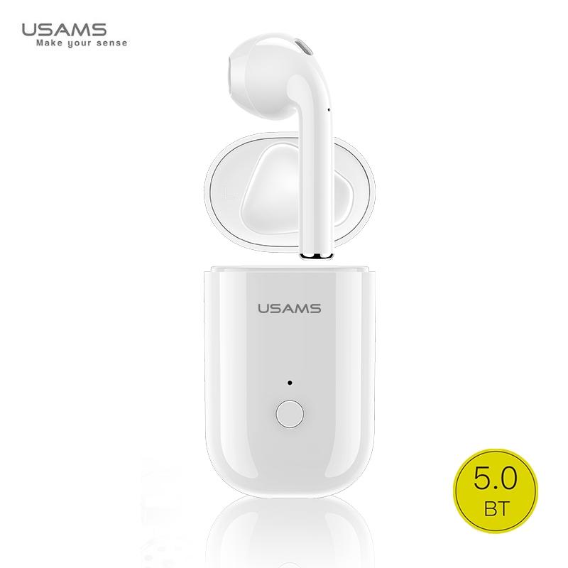 Usams LB Mono Airpod Bluetooth 5.0 Stereo Austiņa ar Mikrofonu (MMEF2ZM/A) Analogs Balta aksesuārs mobilajiem telefoniem