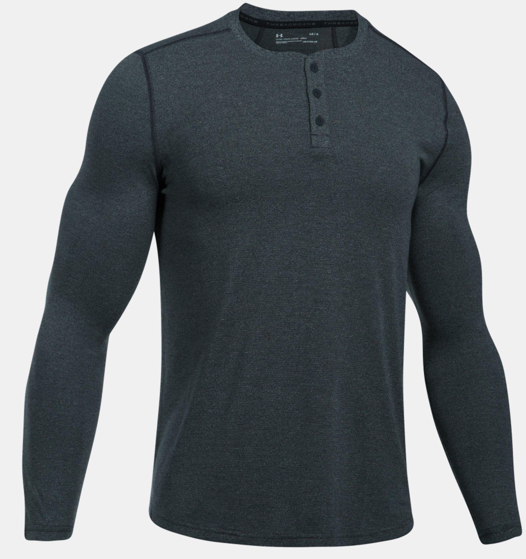 Under Armour Koszulka meska Threadborne Knit Fitted Henley grafitowa r. S (1298403-016) 1298403-016