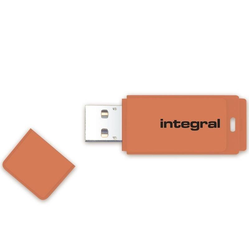 Integral USB 64GB NEON orange, USB 2.0 with removable cap USB Flash atmiņa