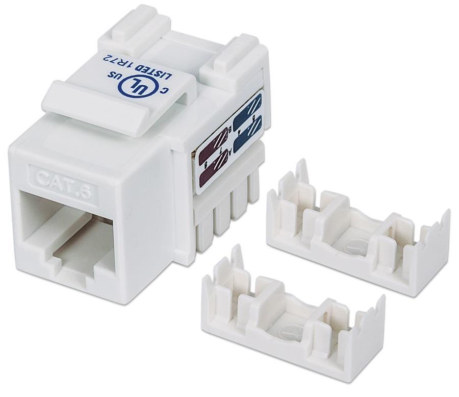 Intellinet Keystone Jack Cat6 UTP RJ45 punch-down white