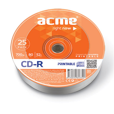 ACME CD-R 80/700MB 52X 25pack shrink printable