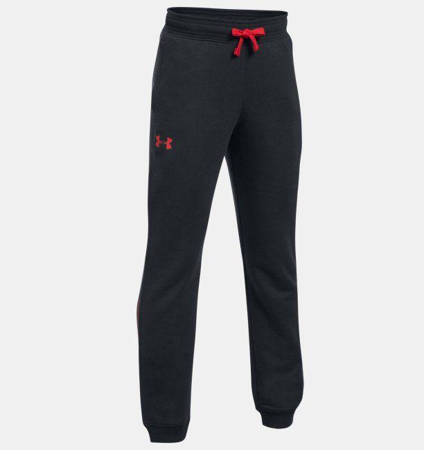 Under Armour Spodnie dzieciece Rival Jogger czarno czerwone r. L (1309544-001) 1309544-001