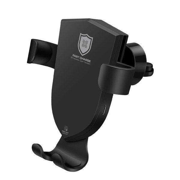Dux Ducis C2 Turētājs Gaisa Restei Ar Wireless Uzlādi + QC 3.0 Ladētājs + USB-C Vads1.2m Melns Mobilo telefonu turētāji