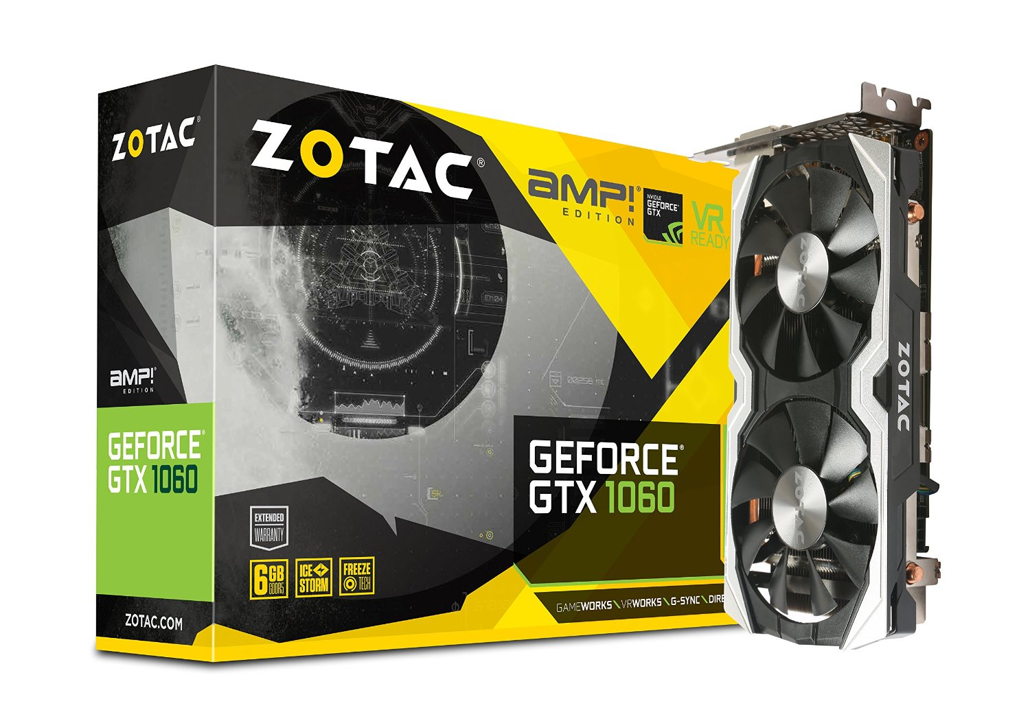 ZOTAC GeForce GTX 1060 AMP, 6GB GDDR5 (192 Bit), HDMI, DVI, 3xDP video karte