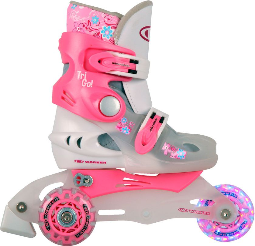 WORKER Rolls for children TriGo LED roller skates with glowing pink wheels, Size 26-29 Skrituļslidas