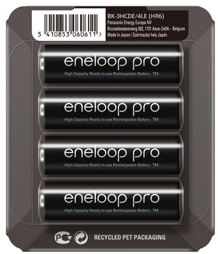 Panasonic Eneloop Pro R6/AA 2500mAh, 4 Pcs, Sliding pack