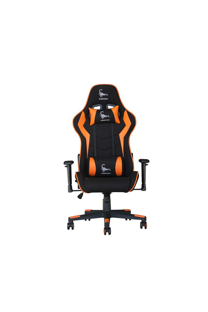 Gembird Gaming chair 'SCORPION', black mesh, orange skin datorkrēsls, spēļukrēsls