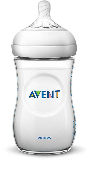 Philips Avent Natural zīdaiņu pudelīte 260 ml, lēnas plūsmas knupītis, 1m+ SCF033/17 bērnu barošanas pudelīte