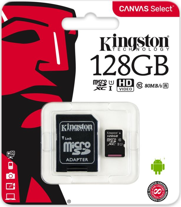 Kingston 128GB microSDXC Canvas Select 80R CL10 UHS-I Card + SD Adapter atmiņas karte