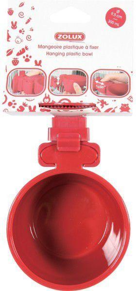 Zolux Miska plastikowa do zawieszenia 9.5 cm - czerwony 1104597 grauzējiem