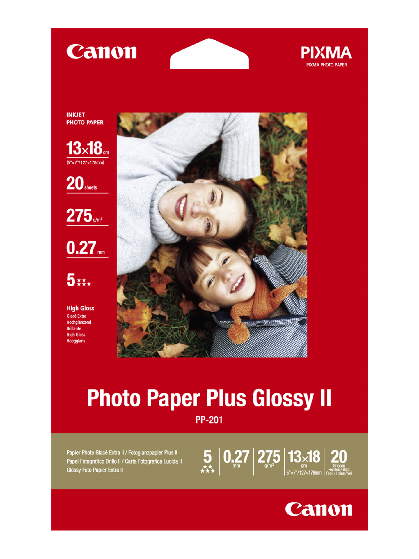Paper Canon PP201 Photo Paper Plus | 270g | 13x18cm | 20sheets foto papīrs