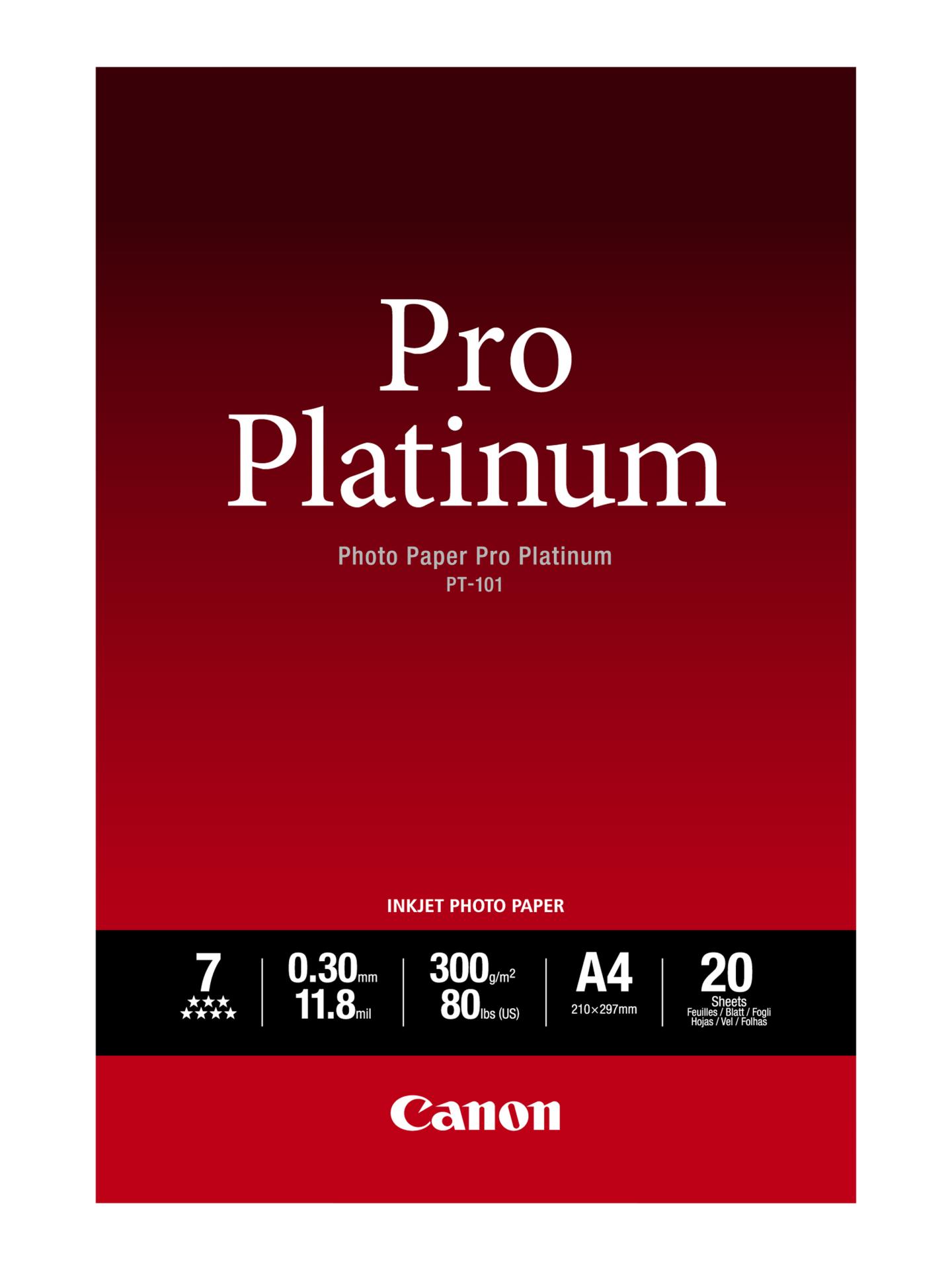 Canon PT101 Pro Platinum Photo | 300g | A4 | 20sheets foto papīrs