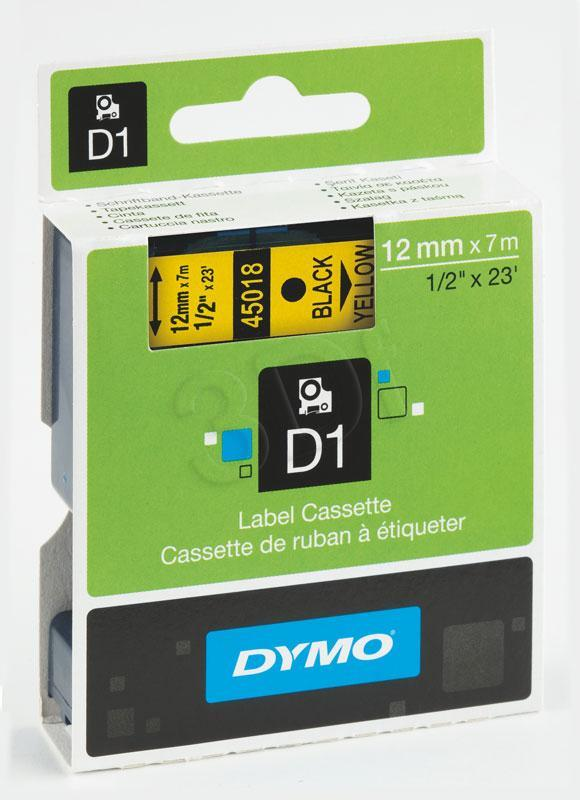 DYMO TAPE D1 12X7M  BLACK/YELLOW S0720580 papīrs