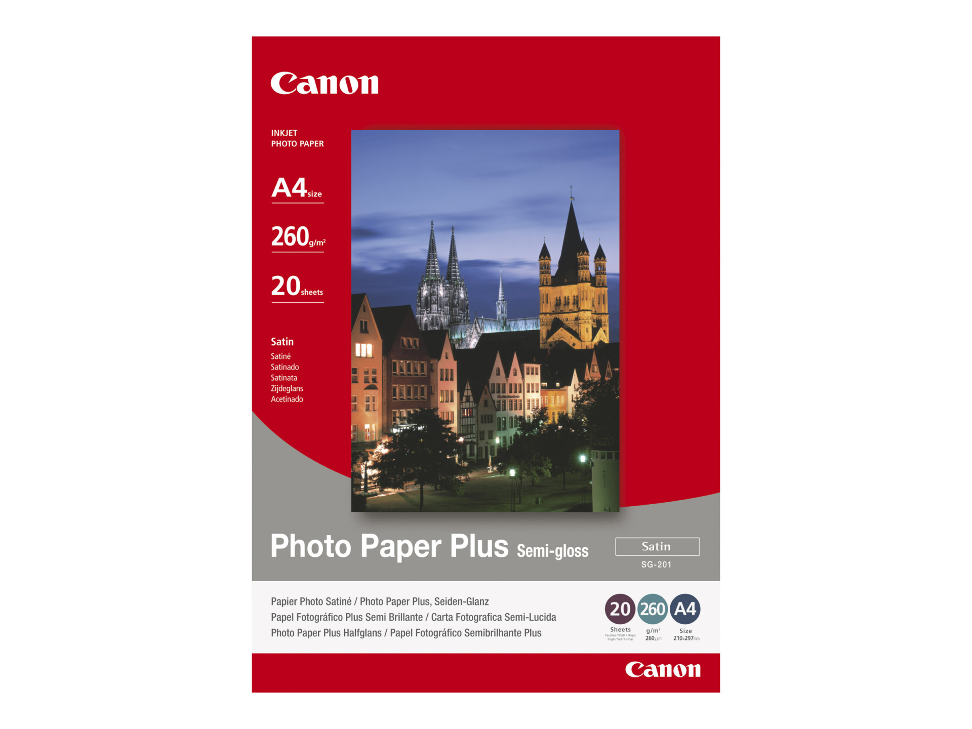Paper Canon SG201 Photo Paper Plus Semi-glossy | 260g | A4 | 20sheets foto papīrs