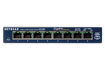 Netgear ProSafe 8-Port Gigabit Desktop Switch Metal (GS108GE) komutators