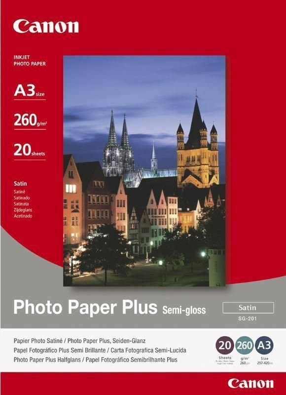 Paper Canon SG201 Photo Paper Plus Semi-glossy | 260g | A3 | 20sheets foto papīrs