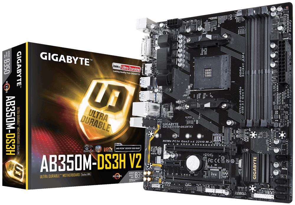 Gigabyte GA-AB350M-DS3H V2, AM4, DDR4 3200, USB 3.1, DVI-D/HDMI pamatplate, mātesplate