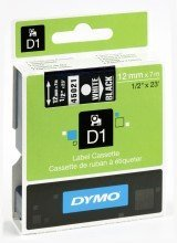 DYMO TAPE D1 12X7M  WHITE/BLACK S0720610 papīrs