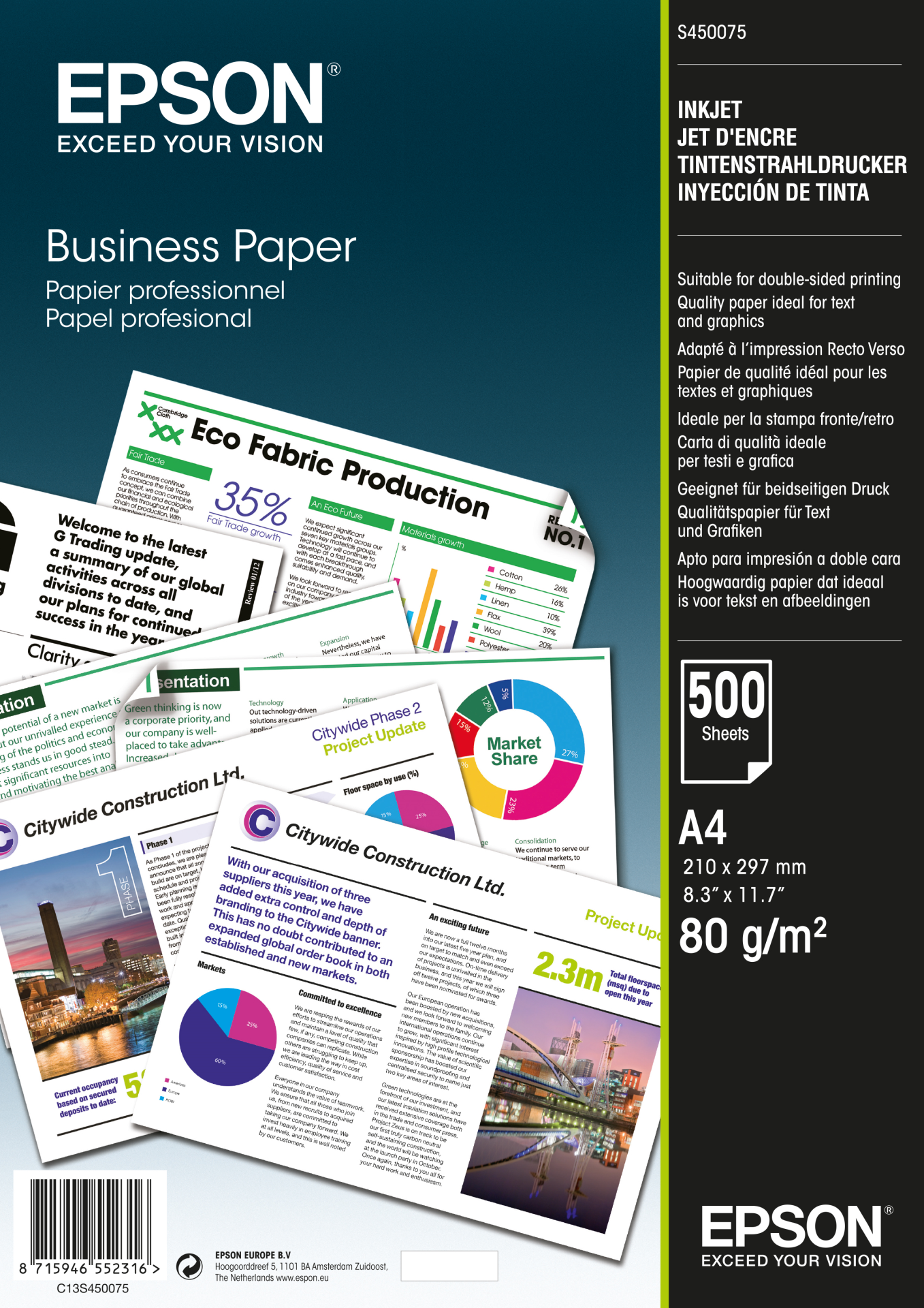 Epson Business Paper A 4 500 Sheet, 80 g S 450075 papīrs