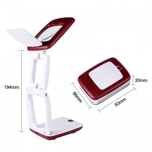 Foldable Desk LED Clamp Mount Magnifier Lamp Light Magnifying Glass Lens Loupe Red C52926