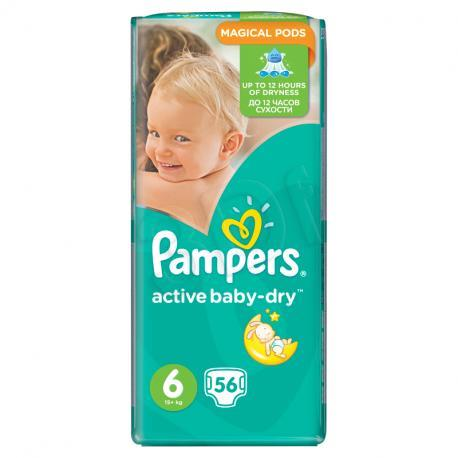 Pieluchy PAMPERS Act. Baby-Dry 6 XL 3-6kg, 56szt 4015400736424