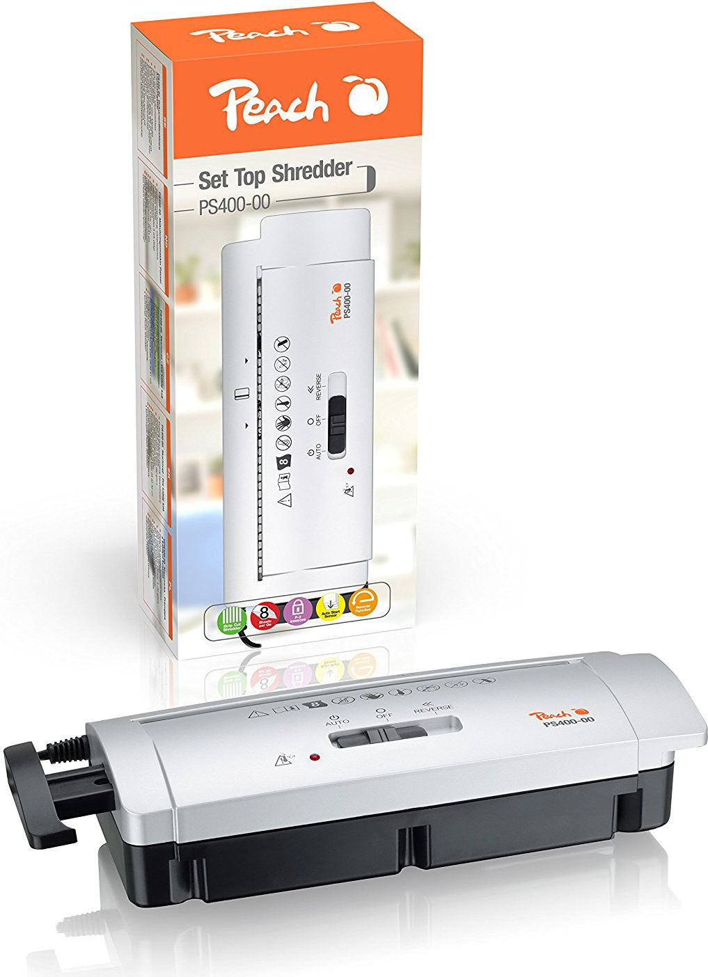 Shredder PS400-00, strips 7mm, 6 sheets, adaptable to std basket 28-35 cm, P-1 papīra smalcinātājs