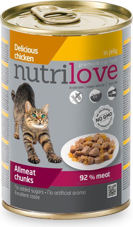 NUTRILOVE Nutrilove puszka Kurczak w galaretce - 400g VAT007717 kaķu barība