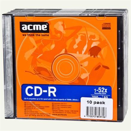 Acme CD-R 80/700MB 52X 10pack slim box Recordable CD-R disc, 80 min / 700 Mb GB matricas