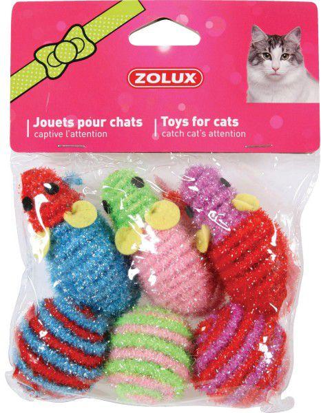 Zolux Zabawki dla kota 3 myszki + 3 pilki 1104542 piederumi kaķiem