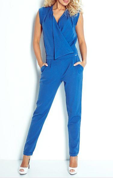 numoco Kombinezon damski z zakladanym dekoltem niebieski r. S 454-2554 Bikškostīmi Sievietēm