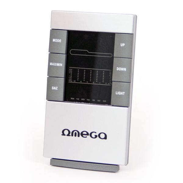 Omega OWS26C Digitālā Laika Stacija / Termometrs / Higrometrs / Kalendārs / Pulkstenis / Modinātājs / Krāsains LED / Pelēks Laika stacija