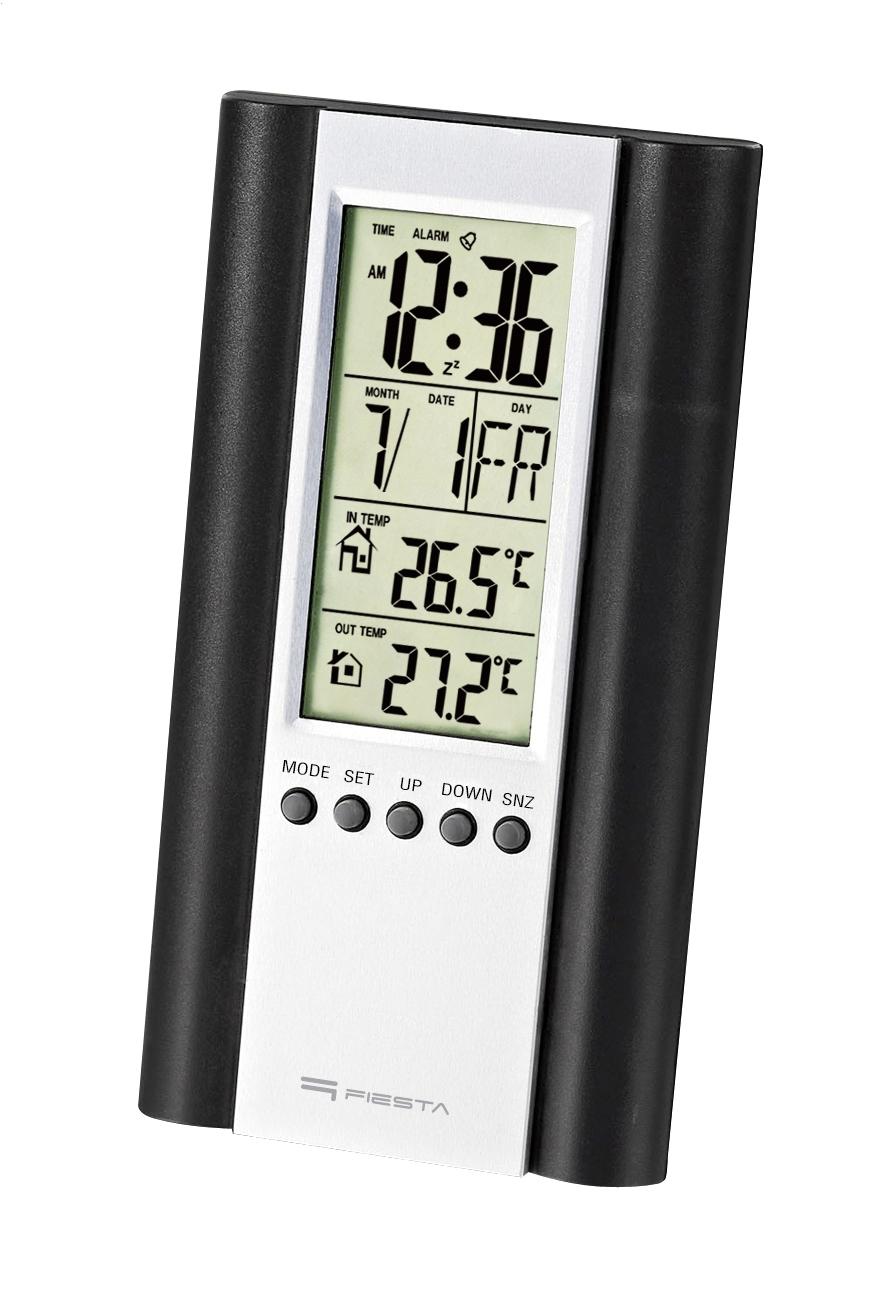 Fiesta FSTT04B Digitālā Laika Stacija nosaka Iekštelpu un Āra temperatūru / Termometrs / Kalendārs / Pulkstenis / Modinātājs / LCD / Melns barometrs, termometrs