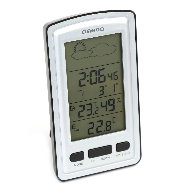OMEGA DIGITAL WEATHER STATION LCD INDOOR/OUTDOOR WIRELLESS [42362] OWS01 Laika stacija