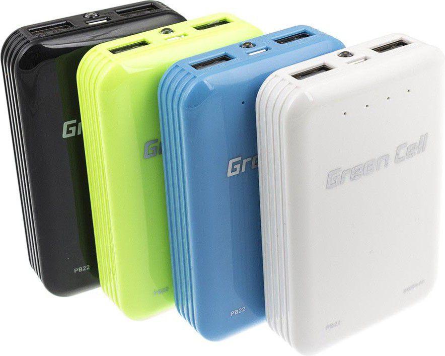 Green Cell Power Bank 6200 mAh White (1 × USB (5V/2.1A), 1 × USB (5V/1A)) Powerbank, mobilā uzlādes iekārta